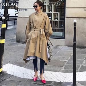 XITAO Patchwork Irregular Khaki Trench Women Clothes 2019 Sashes Fashion Stand Collar Match All Coat Top Autumn New GCC1077