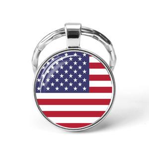Nordamerika Länder Flagge Schlüsselanhänger USA Kanada Costa Rica Mexiko-Flaggen-Glas Cabochon Anhänger Schlüsselanhänger Freunde Geschenke