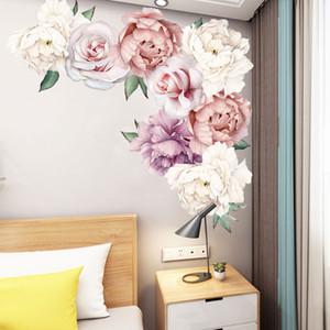 60x60cm Peonia Rosa Fiori Wall Sticker Art Nursery Decalcomanie Camera dei bambini Home Decor Regalo Adesivo da parete di alta qualità