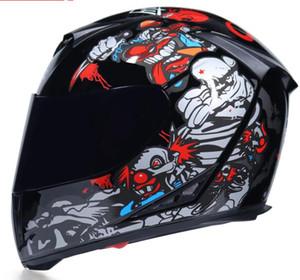 Jiekai hommes casque de moto et les femmes visage plein casque personnalité pleine couverture quatre saisons chaudes locomotive double lentille casque anti-buée