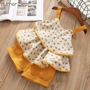 Humor Bear 2020 Summer Girl Clothes Suit Brand New Fruit Pattern Sling T-Shirt+Shorts 2PCS Set Toddler Kid Baby Girls Clothing