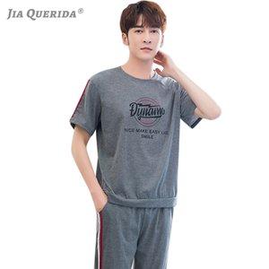 Mans de nuit pyjama en coton d'été Shorts Top + longues Pantalons deux pièces Mode Hommes Blazers sportif occasionnel Pijama Man Set 2020new