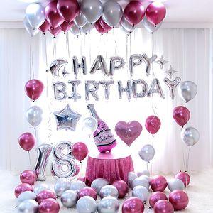 26pcs / lot 30inch Happy 18 Birthday silver Foil number Balloons Metallic Globos 18th Anniversary birthday Party Decor Supplies SH190913