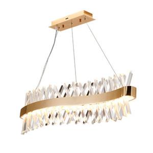 Vague conception long Lustre En Cristal LED lampe lustre cristal Kronleuchter éclairage à la maison bar lumière