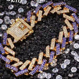 Mens Altın Gümüş Zincir Miami Küba Bağlantı Hip Hop Bling Zincirler Tasarımcı bilezik Erkekler hiphop Takı Lüks elmas bilezik 15mm Out buzlu