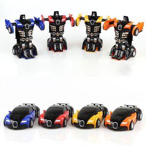 4pcs / set Çarpışma atalet deformasyon araba Bugatti Veyron tek düğmeli deformasyon oyuncak elmas araba modeli çocuk oyuncak hediye oyuncak araba