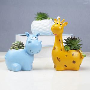 Résine Pot de fleurs Mini Succulent Planters Pot Moderne animal Flowerpot Jardin Cactus Pots Décoration Accessoires RRA2139