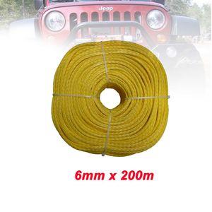 6 milímetros x 200m 12 Strand UHMWPE fibra Braid Corda puxando Sailplane Rope