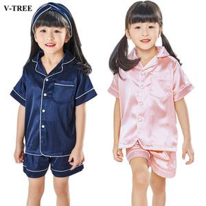 Crianças Pijama De Seda Pijamas De Verão Para As Meninas Dos Miúdos Pijamas Softy Meninos Pijamas Roupas de Bebê Crianças Conjunto de Pijama J190520