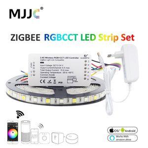 زيجبي RGBCCT LED قطاع الخفيفة الذكية SMD مقاوم للماء 5050 12V 5M LED الشريط الشريط الشريط زلل وصلة تحكم العمل مع اليكسا صدى