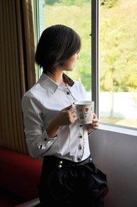 Long Black / coton blanc manches Bureau Lady OL affaires Leopard Shirt Top Chemisier