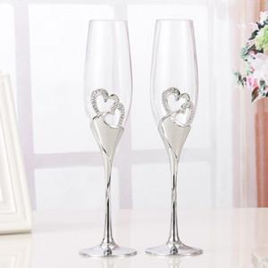 2 PCS / Set Cristal De Mariage Grillage Champagne Flûtes Verres Boisson Tasse Partie Mariage Vin Décoration Tasses Pour Les Fêtes Coffret Cadeau