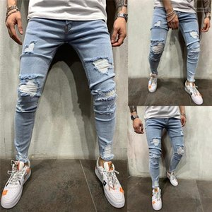 Autumn Ripped Biker Jeans Herren Frühling Kleidung drapierte Slim Fit Light Blue High Street Jeans Pantalones 19SS