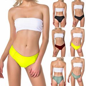 EU Stock Mulheres Sólidos Bra Mid cintura Sexy Lady Bikini Set Tubo Top Swimsuit Mar Swimwear Balneares Beachwear roupas pretas Vermelho