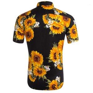 T-shirts turn-down Casual Col d'été Hauts Vêtements pour hommes Fashion Designer Tournesol imprimé Hommes Chemises manches courtes adolescents