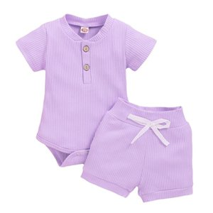 SAGACE Newborn Outfit Girl Baby Casual Solid Short Sleeve Romper+short 2PCSClothes Sets Toddler Baby Girl Summer Clothing