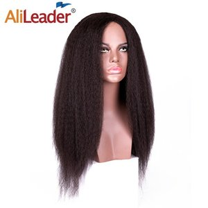 Alileader Factory Afro Kinky Straight Wigs Quality Non-Lace Wig For Women Black Brown BUG Heat Resistant Synthetic Hair Wig