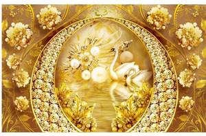 Пользовательские обои золото обои Лебединое озеро ювелирные изделия обои цветок высокого класса фон стены