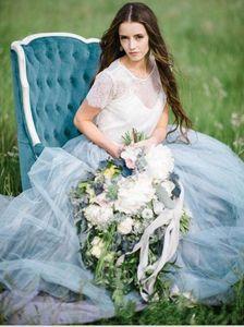 2020 NEW Fairy-Бич Boho кружева свадебных платьев высокой шея Линии Soft Тюль рукав Cap Backless Light Blue Юбка Bohemian свадебное платье 2018