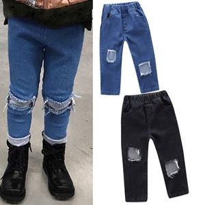 Kinder Kleidung Jungen INS Mädchendenimhosen Kinder Loch-Jeans 2020 Frühlingsherbsthosebaby-Kleidung 2 Farben C1174