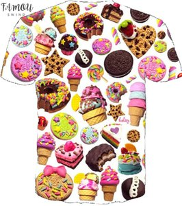 New Summer Style Harajuku Short Sleeve Women Men 3D T Shirt Donut Ice Print Fashion Spandex T Shirt Plus Size Drop Shipping