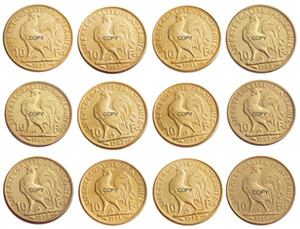 France 10 Francs Full set(1899-1914) 14pcs Rooster Gold Copy Coin Craft Ornaments replica coins home decoration accessories
