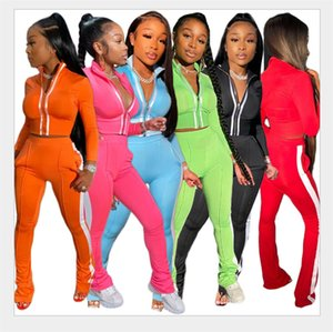Latest 2020 Autumn Long Sleeves Tracksuits Women Patchwork Short Jacket with Zipper + Sweatpants Fashion Two Pieces Sports Outfits