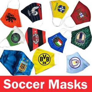 masque football coton flamengo Ajax lsustainable utiliser des masques à usage unique remplaçables en gros club de l'équipe de football de haut Masque Protect rapide