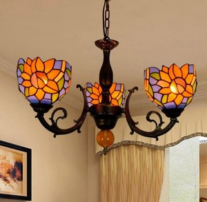 European retro lamps creative chandelier Tiffany stained glass decorative lamp restaurant bedroom bar pastoral sun flower 3 head chandelier