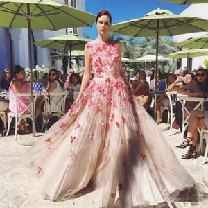 고급 3D 꽃 댄스 파티 드레스 2020 볼 가운 보석 목은 완전 나비 푹신한 스커트 공주 행사 여성 이브닝 드레스를 착용