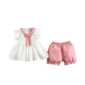 DFXD 2020 Детских летних одежды Набора маленьких девочки Bow рукав футболка Топы + Шорты Брюки 2 девочки Комплекты детской одежда 6M-3T