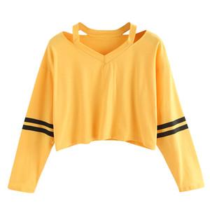Felpe con cappuccio da donna Felpe con cappuccio a righe gialle calde a forma di ragazze Pullover di autunno sexy Short Felpa in stile coreano Felpe Tumblr