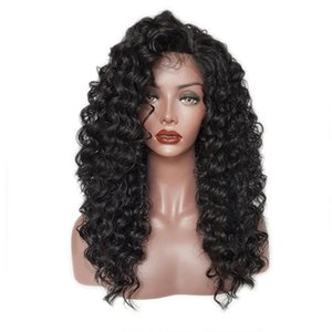 Long deep Curly Synthetic Lace Front Wigs Baby Hair Loose Curly Wig Black Women party, live show