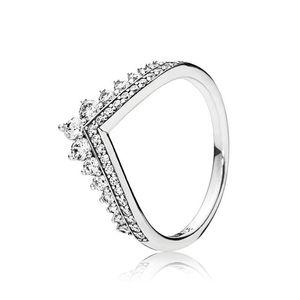 Logo Damga Temizle CZ Diamond Princess İstek Yüzük Seti Orijinal Kutusu Pandora 925 Gümüş Kadın kızlar Düğün Taç Halkalar bant halkası için