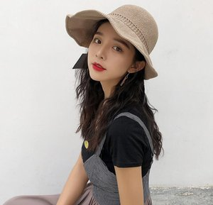 2020 summer new ladies knitted hat net red foldable sunscreen sun hat female bowknot empty top straw hat