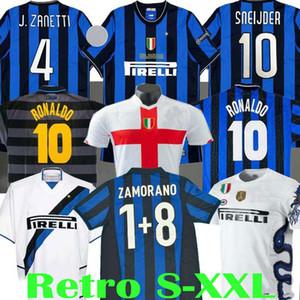 Finale 2009 2010 MILITO SNEIJDER ZANETTI Retro Fußball Jersey Pizarro Fußball MILAN 1997 1998 97 98 99 Djorkaeff Baggio RONALDO Inter 02 03