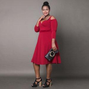 Autumn red sling strapless long sleeve plus size dress net