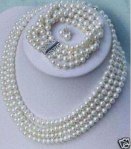 كلمة حب المرأة الأزياء والمجوهرات الساحرة الصفوف ريال اللؤلؤ الأبيض الطبيعي قلادة سوار القرط مجموعة مجوهرات 6-7 ملليمتر
