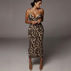 Mulheres vestido de verão Sexy V Neck Leopard Cobra Imprimir Longo Sem Costas Vestido de partido Bodycon ocasião deslizamento magro diário usar vestido