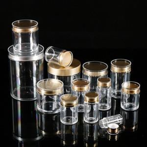 Clear Arclic Plastic Jar Maquillaje cosmético Candy Capsule Jar Tarros de almacenamiento de cocina 20 tamaños para la venta al por mayor