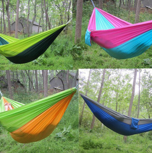 Double Lightweight Nylon Hammock Adult Camping Outdoor Travel Survival Garden Swing Hunting Sleeping Bed Portable Hammock KKA7904