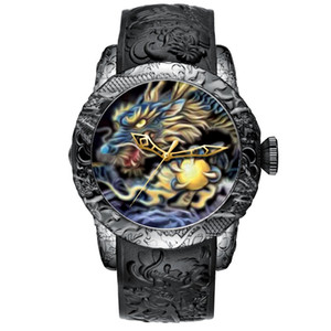 Escultura Moda Dragão Megálito Assista Men Waterproof Big Dial relógio de quartzo Emboss Homens Top Relógio 8041