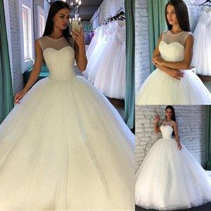2020 lentejuelas brillantes de lujo de tul joya cuello de bola vestido de novia con Listones Sleevelss barrer de tren vestidos de novia por encargo