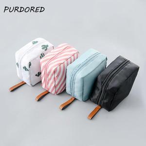 Purdored 1 개 단색 화장품 가방 선인장 여행 세면 용품 스토리지 가방 뷰티 메이크업 가방 화장품 가방 주최자
