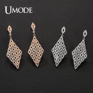 UMODE New pavimentada CZ cristal losango Brincos para Mulheres Moda cor do ouro Dangle Earring jóias aniversário Dating presente UE0668