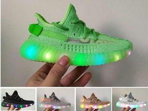 Enfant V2 LED Light Up lumineux Tennis d'enfants chaussures Kanye West statique Clay Hyperspace enfant en bas âge Garçons Filles Enfants-11C statique Formateurs 3Y