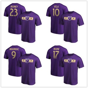 # 9 Ibrahimovic # 10 Carlos Vela 2019 All-Star MLS # 23 Rooney # 17 Nani Fanatics Nome do Jogo Número da marca T-Shirt Fãs Tees Roxo logotipo impresso