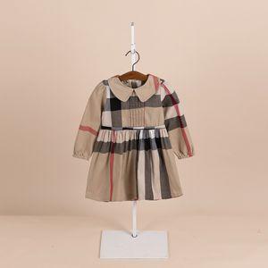 Nuevo Primavera y otoño Otoño Desgaste de los niños Vestidos para niños Vestidos para niños Manga larga Princess Vestido de muñeca coreana Collar de algodón de algodón