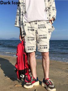 Dark Icon Elastic Waist Casual Shorts Men 2019 Summer Beach Shorts Men's