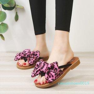 TINO KINO mujeres Bowtie leopardo verano pisos Casual zapatillas mujer playa Flip Flops confort moda Slip On Clip Toe zapatos c19